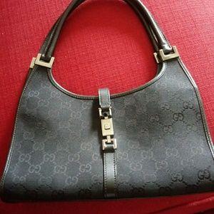 Jackie O Vintage black leather handbag